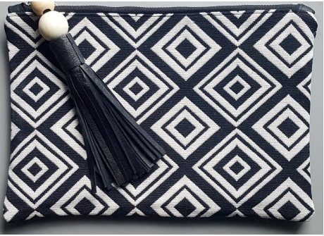 Clutch Black & White Diamond Leather