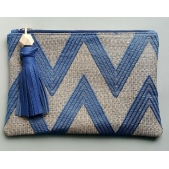 Clutch Blue Zigzag & Leather