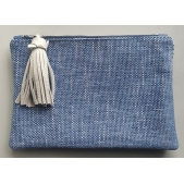 Clutch Leather Blue and Ivory