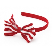 17mm Headband with Large BBow  Red Stripe Grosgrain