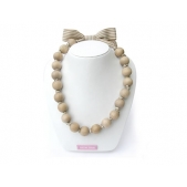 Knotted Large Bead Necklace Natural on Latte