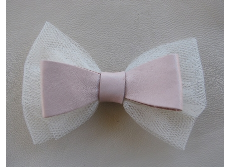 Leather Tulle Bow Clip - Pink