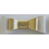 Leather Double Bow Clip - Ivory Gold