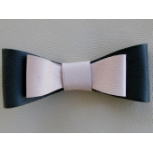 Leather Double Bow Clip - Navy Pink