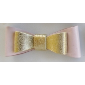 Leather Double Bow Clip - Pink Gold
