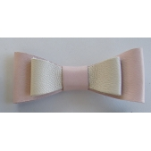 Leather Double Bow Clip - Pink Ivory