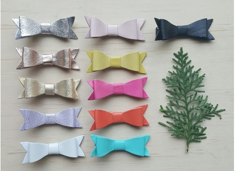 Leather Petite Bow Clips