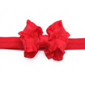 Ruffle Bow Elastic Headband Red