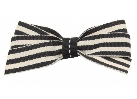17mm Boutique Bow Black Cream Stripe