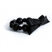 Bracelet Wood Bead Black Satin