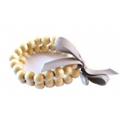 Double Strand Wood Bead Bracelet Natural
