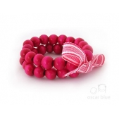 Double Strand Wood Bead Bracelet Hot Pink