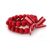 Double Strand Wood Bead Bracelet Red