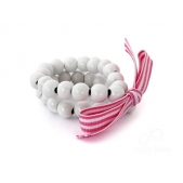 Double Strand Wood Bead Bracelet White