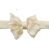 Ruffle Bow Elastic Headband Cream