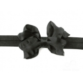 Ruffle Bow Elastic Headband Black