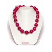 Knotted Large Bead Necklace Hot Pink