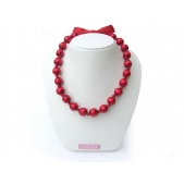 Knotted Bead Necklace Red