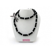 Knotted Mini Bead Necklace Black