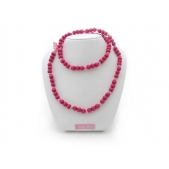Knotted Mini Bead Necklace Hot Pink