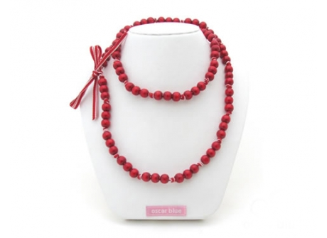 Knotted Mini Bead Necklace Red