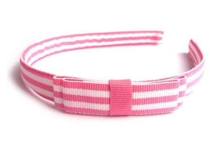 17mm Headband Tuxedo Bow Pink Stripe Grosgrain